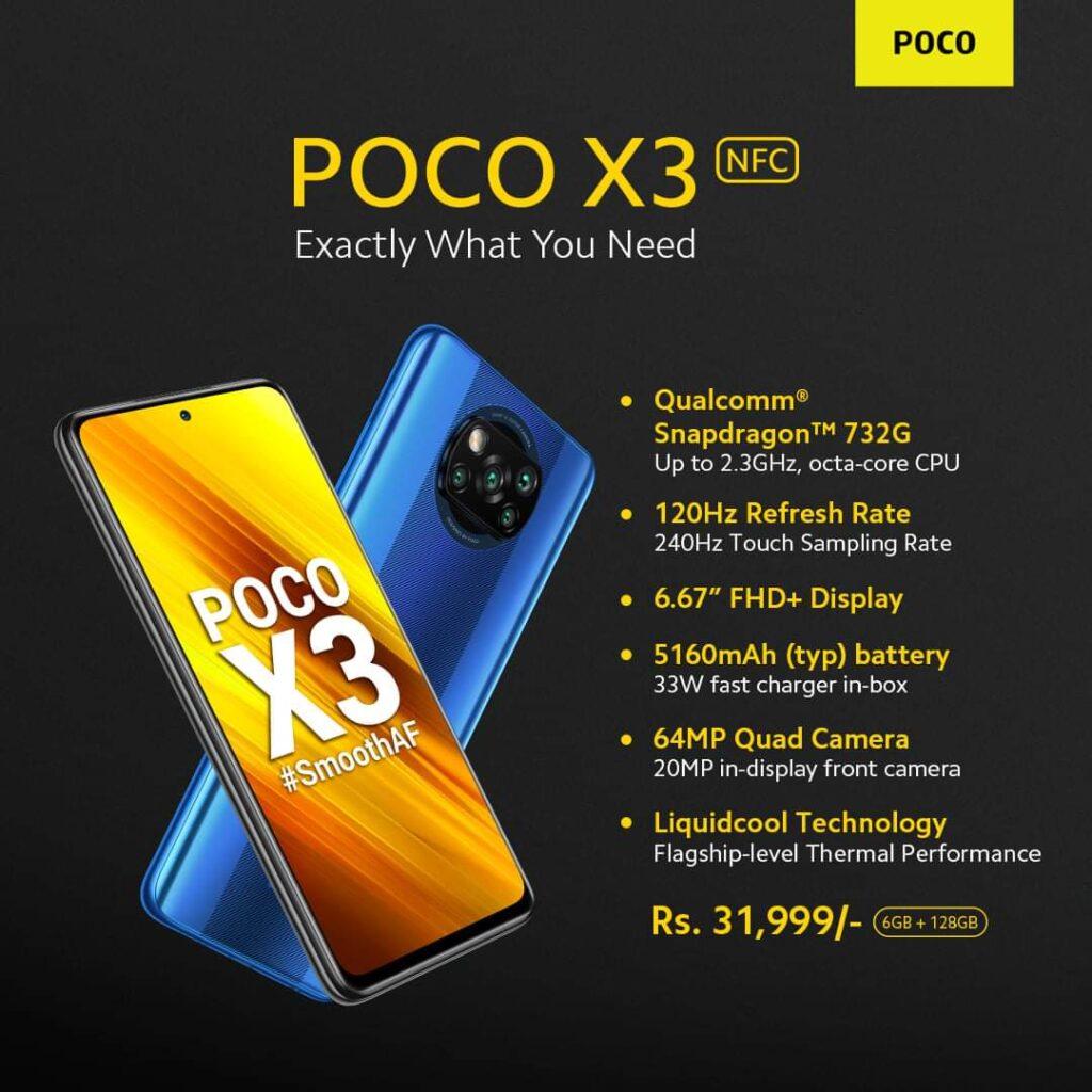 Poco X3 Specs and Price Sheet prepared by POCO Nepal